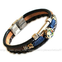 Jewelry bangle leather bracelet man bracelet women bracelet Leather bracelet and ropes bracelet ,tibetan silver SH-00000024