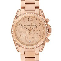 Michael Kors Rose Gold Chronograph Watch at asos.com