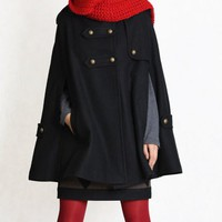 black cape Wool Cape Cashmere coat Black coat double breasted button coat winter coat Hood cloak Hoodie cape Hooded Cape/ FM003