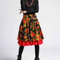 Flower cotton knee length skirt  (415)