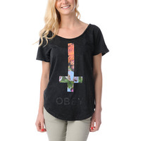 Obey Salem Spring Black Mineral Wash Dolman Tee