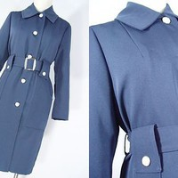VINTAGE 70s Madmen MOD Belted Jacket Dress Long Trench Coat Spy Girl Retro Sz M