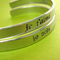Star Wars Bracelets - Set of 2 Han &amp; Leia Cuffs in French - His and Hers - I love you - I know