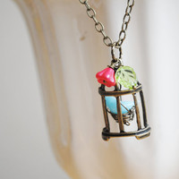 Bird Cage Necklace - Bird in a Cage - Venetian Blue Bird Glass Bead - Song Bird - Raspberry Bell Flower
