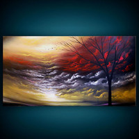 art abstract Original painting art original abstract painting tree painting acrylic painting 24 x 48