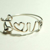 sterling silver 925 love wire heart-  script- word- love derby- wife ring