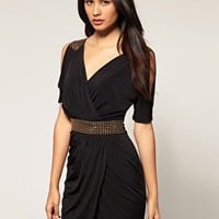 Lipsy | Lipsy Embellished Shoulder & Waist Dress at ASOS