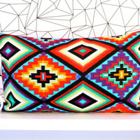 Mexican cushion cover mexican pillow aztec cushion aztec pillow ethnic neon cushion neon pillow decorative pillow throw pillow lumbar pillow