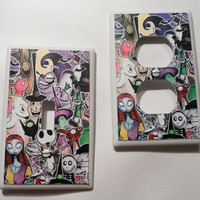 Nightmare Before Christmas Collage Light Switch and Outlet Covers - set of 2 - Single or Double