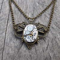 Clockpunk Steampunk Victorian - Style Pendant Necklace, Stainless Steel Watch Movement on Antiqued Brass Cabochon & Double Drop Curb Chain