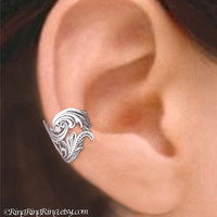 925, Dancing Feather -  Sterling Silver ear cuff earring jewelry, non pierced Earcuff for men and women 111012