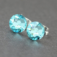 Swarovski Stud Earrings : Light Turquoise Swarovski Crystal Stud Earrings, Sterling Silver Plated, December Birthstone