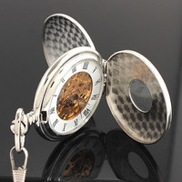 Steampunk Two Side Open Silver Skeleton Mechanical Pocket Watch