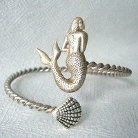 mermaid bracelet with a seashell, wrap mermaid jewelery