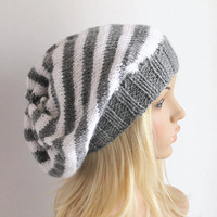 Grey and White Striped Baggy Beanie Slouchy Hat