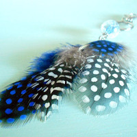 Capri Blue &amp; Grey Boho Feather Keychain with Acrylic Bead, Natural Feathers and Antique Silver Plated Feather Charm from New World