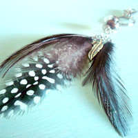 Earth Brown &amp; Grey Boho Feather Keychain with Acrylic Bead, Natural Feathers and Antique Silver Plated Feather Charm from New World