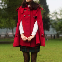 red cape Wool Cape Cashmere coat double breasted button coat winter coat Hood cloak Hoodie cape Hooded Cape dy03 M,L