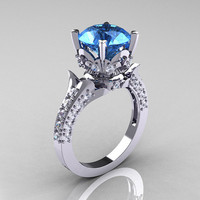 18K White Gold 3.0 Carat Blue Topaz Diamond Solitaire Wedding Ring R401-18KWGDBT
