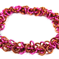 Pink and Copper Shaggy Loops Chainmaille Bracelet