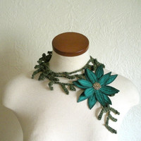 Teal Green Lotus Flower with Hunter Green by TheFaerieMarket