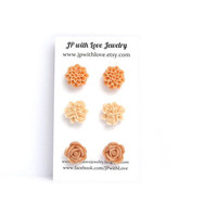 Studs - Peach Stud Earrings - Flower Stud earrings