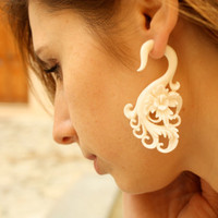 Fake Gauges - Hibiscus Flower Bone Earrings - Natural Tribal Organic Earrings