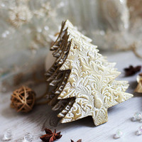 Christmas Gift Tree decoration ornaments in white lace texture with gold varnish and gold  thread Holiday decor tree