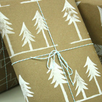 Christmas Wrapping Paper Woodland Family of Trees Kraft paper gift wrap for all occasion
