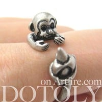 Miniature Monkey and Banana Animal Wrap Around Ring - Sizes 4 to 8.5