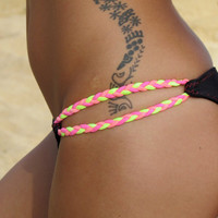 Braid Side Low Cut Bikini Bottoms Neon Yellow, Hot Pink and Coral