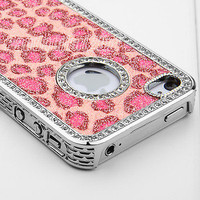 Pink Bling Glitter Rhinestone Leopard Chrome Hard Case Cover For iPhone 4 4S 4G