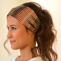 jersey headband - multicolor brown and coral  stretchy headband yoga headband ear warmer birthday gift christmas gift