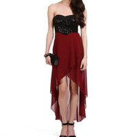 Wine/Black Sequin Strapless Hi-Low Dress