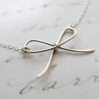 Tiny bow tie silver necklace simple silver by OliveYewJewels
