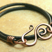 Hammered Copper Swirly Clasp and Leather Wrap Bracelet - Boho