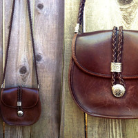 Vtg 1970s Dark Brown Leather BRIGHTON Hippie Boho Cross Body Purse