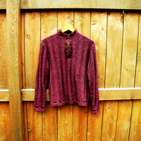 vintage mauve Woolrich sweater. size S to M. fall fashion
