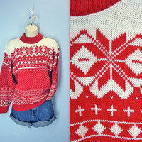 Vintage 1970s Sweater / Snowflake Ski Lodge Red Sweater / s