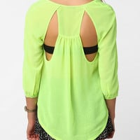 Sparkle &amp; Fade Open Back Chiffon Blouse