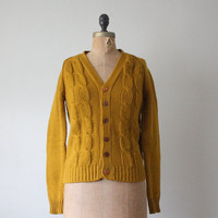 vintage 1960's mustard cable knit cardigan by Thrush on Etsy