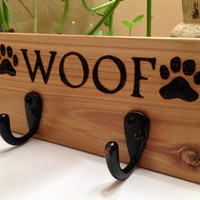 WOOF Paw Print Wood Burning Leash Hanger/ Rustic / Very cute dog leash holder/hook