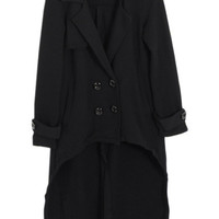 ROMWE | Asymmetric Double-breasted Dovetail Black Woolen Coat, The Latest Street Fashion
