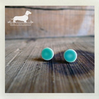 Seafoam Cirque. Post Earrings -- (Vintage-Style, Blue, Turquoise, Mint, Round, Simple, Small, Cute, Shabby Chic, Gift For Her Under 10)