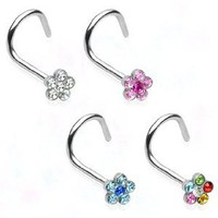 316L Surgical Steel Nose Screw with Clear Gem Paved Flower - 18G - 3mm Gem Size - Sold Individually