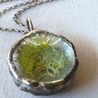 Green Moss Pendant Necklace. Sterling Silver Chain. Botanical Jewelry by Renata and Jonathan