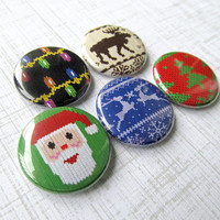Ugly Christmas Sweater Pinback Buttons Set of 5 Funny Holiday Pins Moose Reindeer Santa