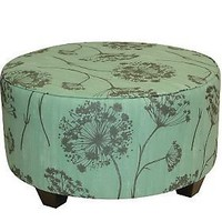 Round Upholstered Queen Anne's Lace Cocktail Ottoman - QVC.com