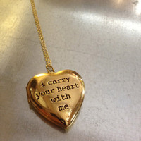 i carry your heart with me Gold Plated Locket Necklace