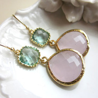Large Pink Opal Earrings Gold Prasiolite Green Two Tier -  Bridesmaid Earrings Wedding Earrings Christmas Gift